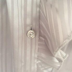 White House Black Market Tops - WHBM silver ruffle blouse button down size 2